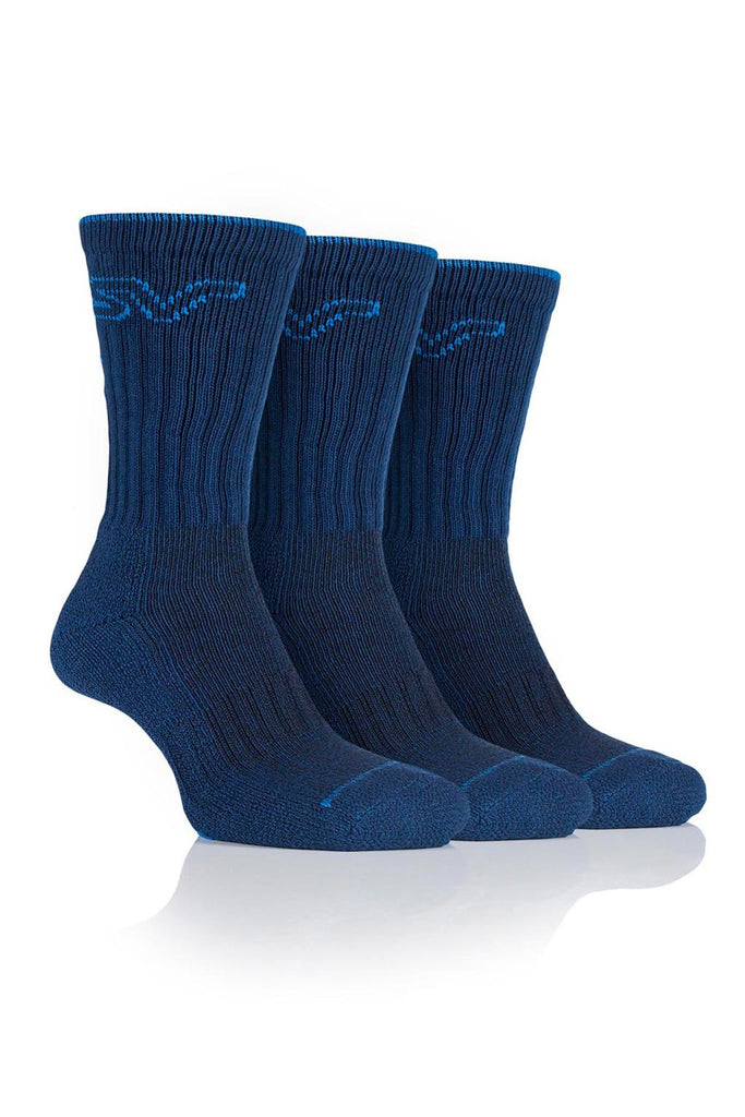 Men's Luxury Boot Socks - Navy/Blue, 3 Pair Pack
