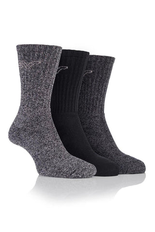 Men's Marl Boot Socks - Black/Charcoal, 3 Pair Pack