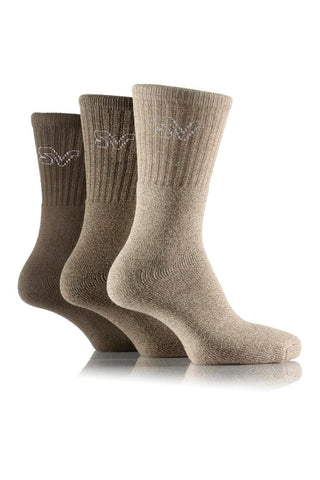 Men's Marl Boot Socks - Khaki, 3 Pair Pack