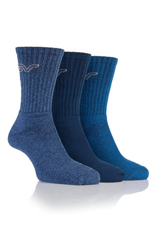 Men's Marl Boot Socks - Navy/Blue, 3 Pair Pack