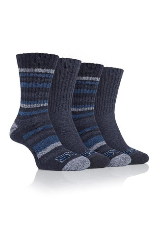 Men's Performance Polyester Ribbed Leg Boot Socks - Charcoal/Navy, 4 Pair Pack