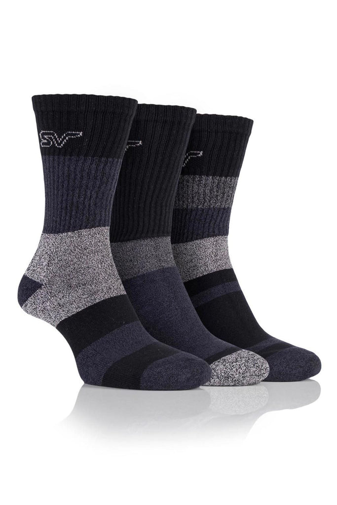 Men's Striped Boot Socks - Black/Charcoal, 3 Pair Pack