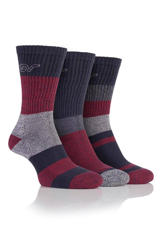 Men's Striped Boot Socks - Black/Red, 3 Pair Pack