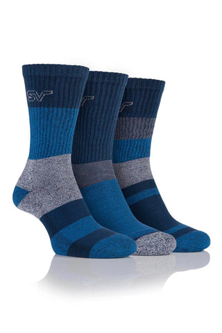 Men's Striped Boot Socks - Navy/Blue, 3 Pair Pack