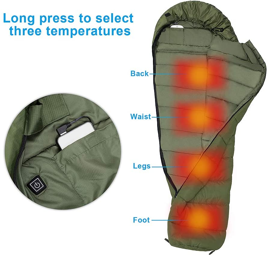 AGEMORE Mummy Sleeping Bag with Composite Fiber Heating Plate, Compression Sack for 3-4 Season Lightweight, Water Resistant & Warm for Camping, Hiking, Traveling and Outdoors(Power Bank NOT Included)