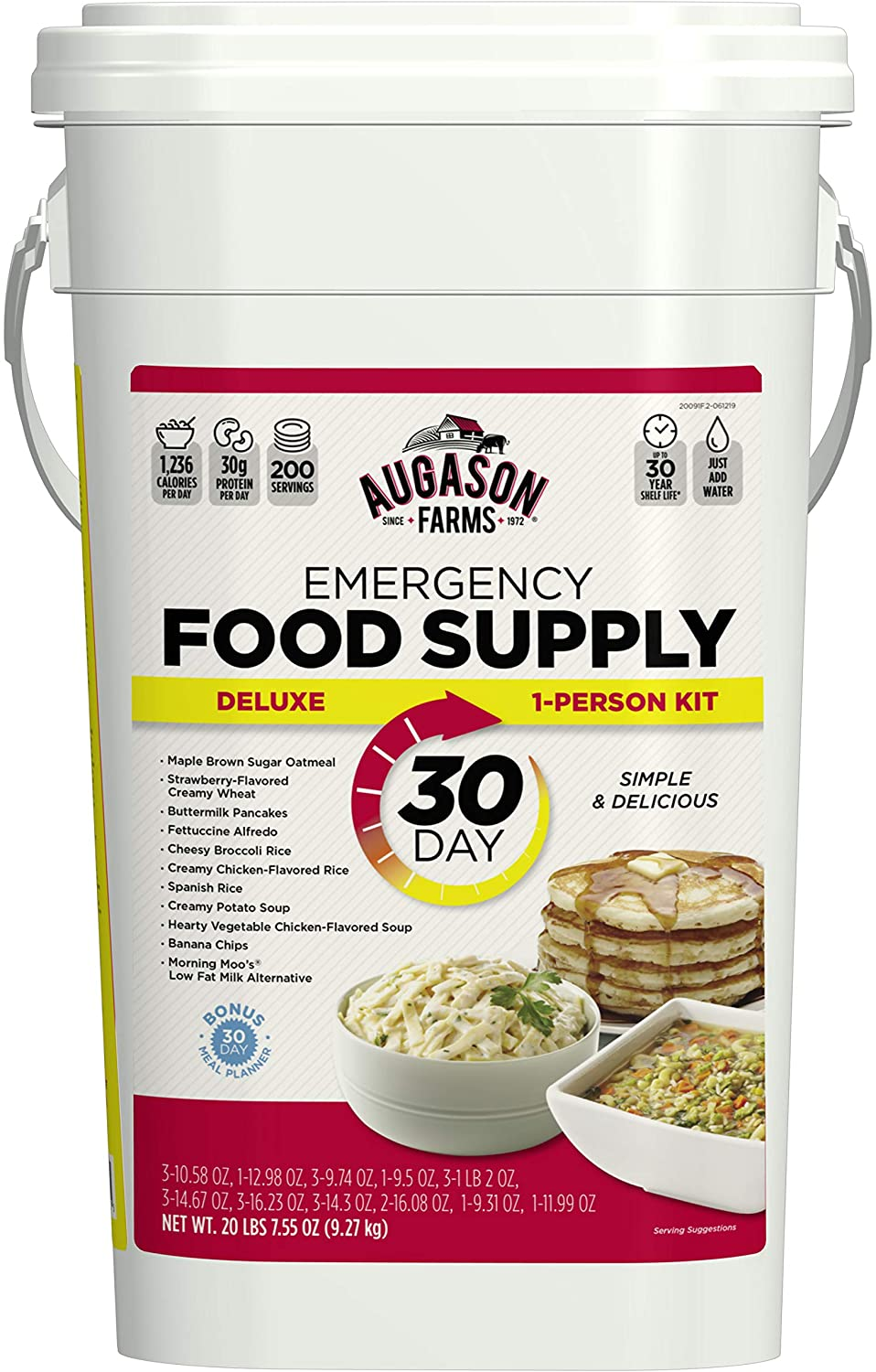 Augason Farms Deluxe Emergency 30-Day Food Supply (1 Person) 200 Servings, 36,600 Calories, Net Weight 20 lbs. 7 oz.