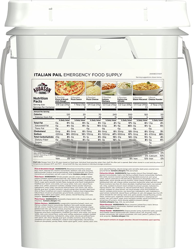 Augason Farms Italian Variety Pail Emergency Survival Food Everyday Meal Prep