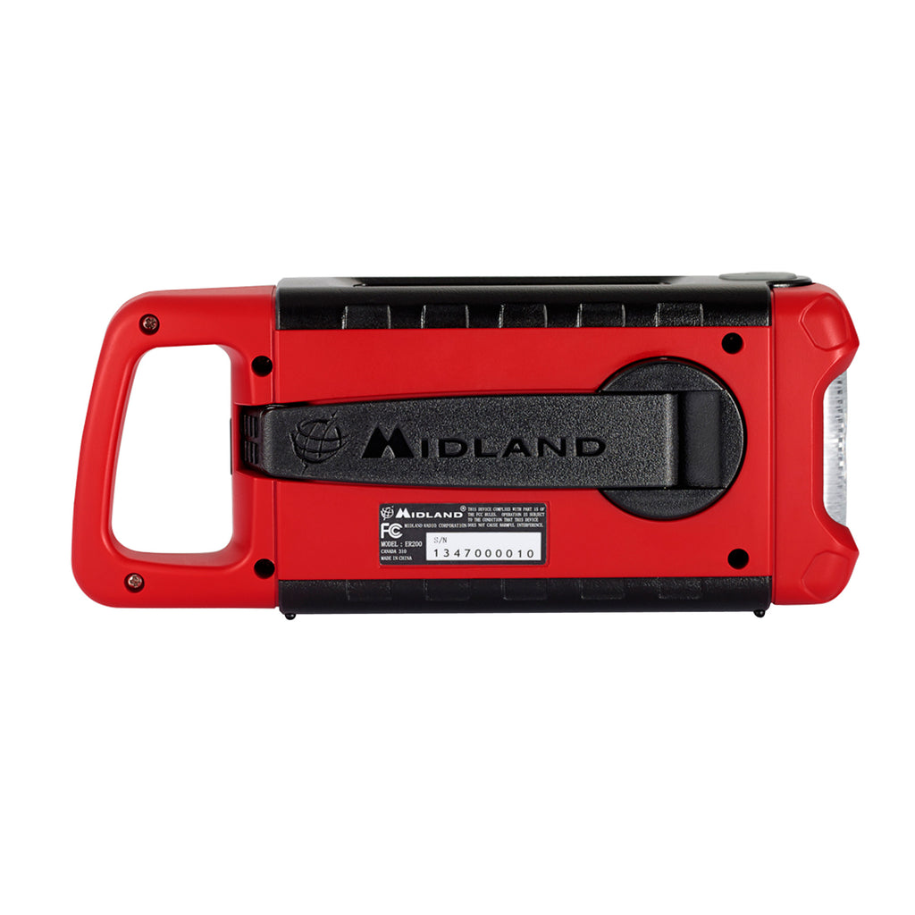 Midland ER210 Emergency Crank Weather Radio 2200 mAh and info direct from the National Weather Service. AM/FM also available. - Black/Red