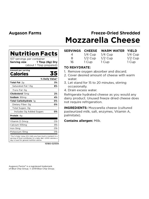 Freeze-dried Shredded Mozzarella Cheese