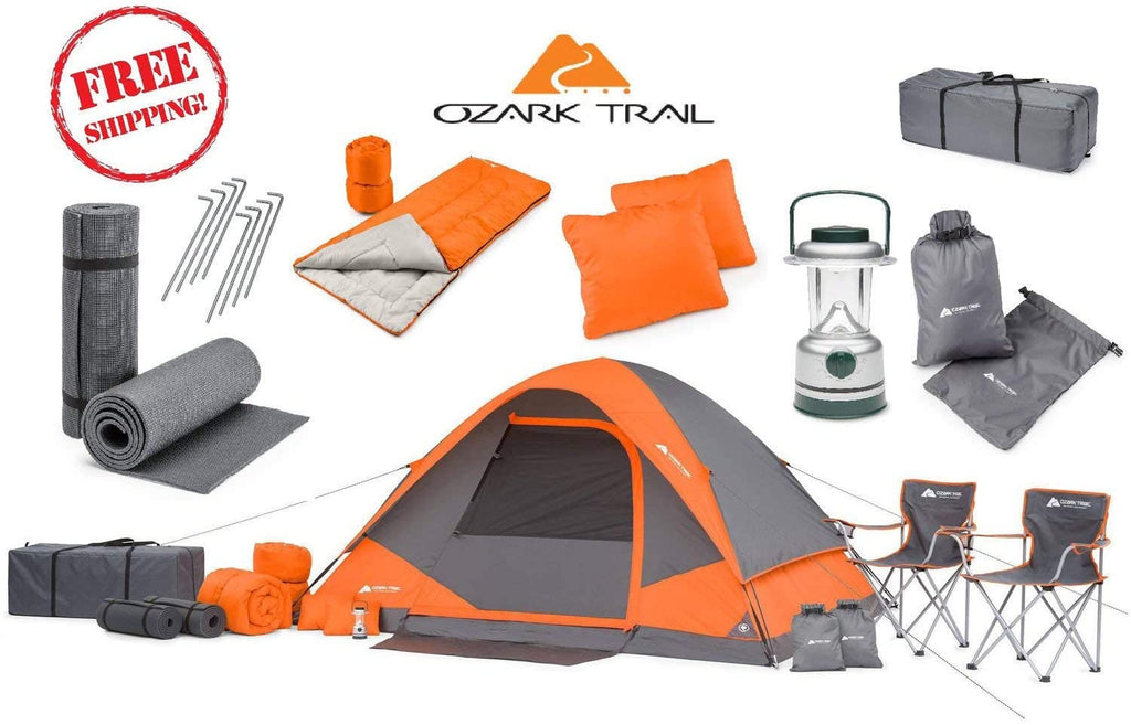 OZARK Trail Family Cabin Tent, 22 Piece Combo Set