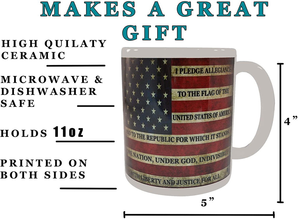 Patriotic USA Flag Funny Coffee Mug Novelty Cup Gift America Pledge of Allegiance