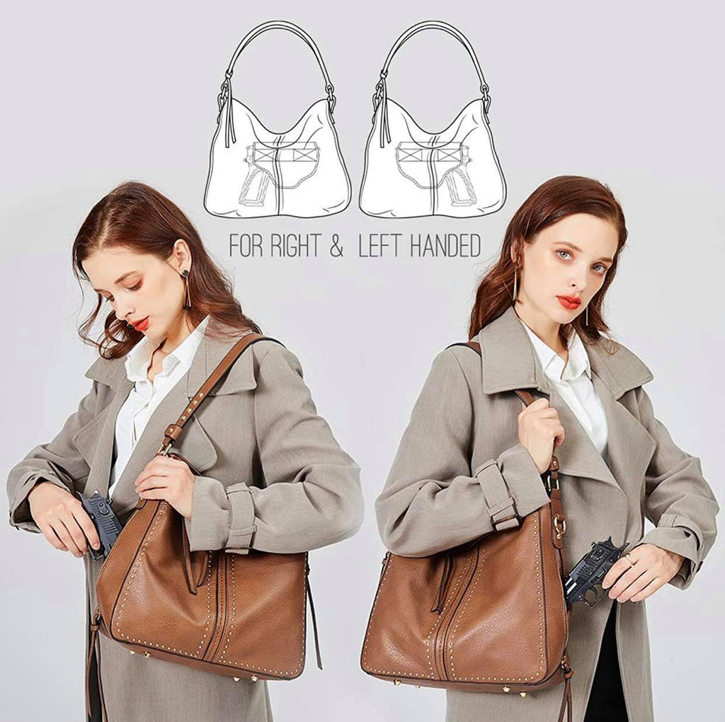 Large Concealed Carry Leather Hobo Purse For Women