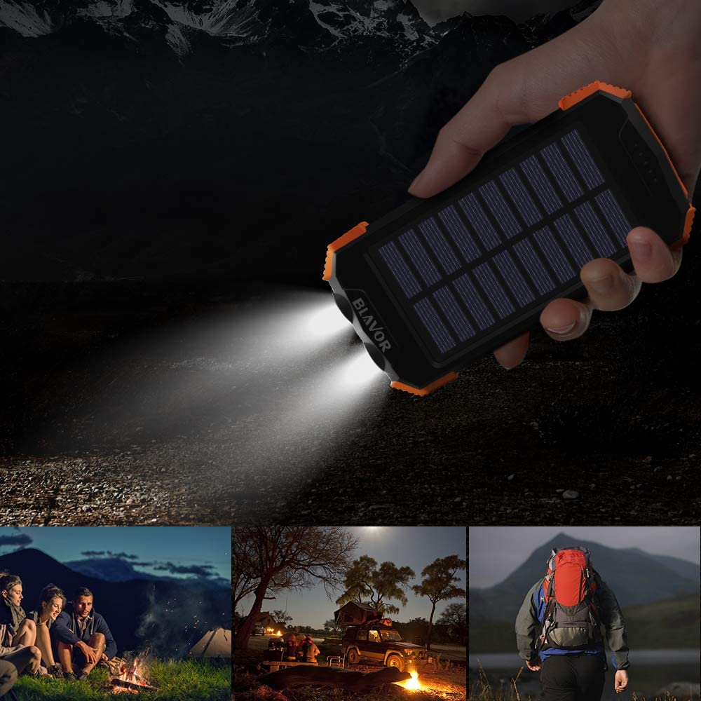 Solar Power Bank, Qi Portable Charger 10,000mAh External Battery Pack Type C Input Port Dual Flashlight, Compass