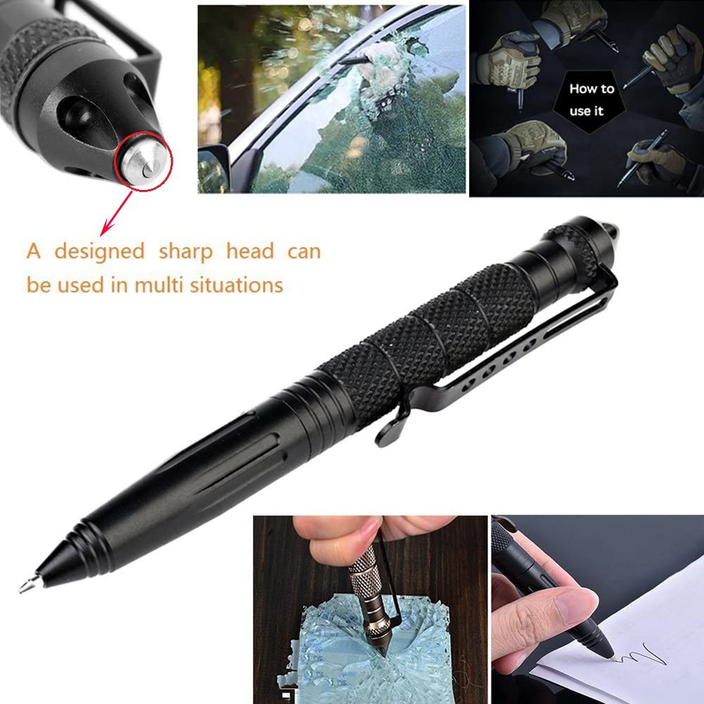 XUANLAN Tactical Pen with 6 Ink Refill, Self Defense Pen with Emergency Glass Breaker Ballpoint,