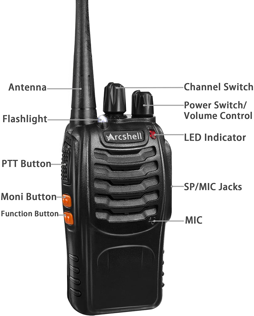 Arcshell Rechargeable Long Range Two-Way Radios with Earpiece