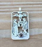 Two of Cups Tarot Card Pendant .925 Sterling Silver Genuine Garnet - Love Union