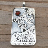 Sterling Silver The Fool Tarot Card Pendant - 0 in the Major Arcana. Set with genuine natural Carnelian gemstone