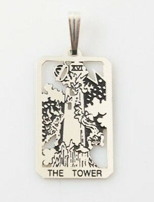 Tower Tarot Card Pendant .925 Sterling Silver - small Tower Tarot jewelry