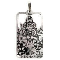 Chariot Tarot Card Pendant .925 Sterling Silver - Small Chariot tarot amulet