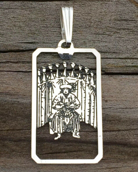 Nine of Cups Tarot Card Pendant .925 Sterling Silver - small Nine of Cups amulet