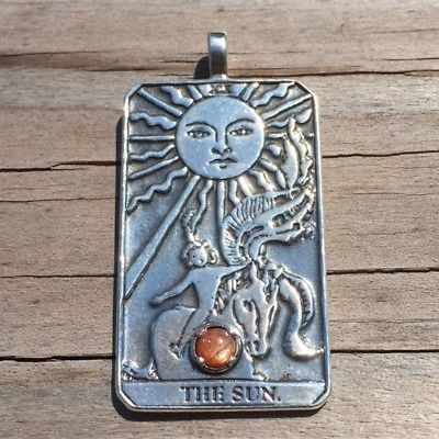 Sun Tarot Card Pendant Sterling Silver w/ Genuine Sunstone Prosperity Success