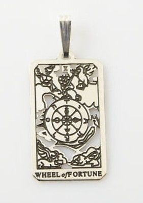 Wheel of Fortune Tarot Card Pendant solid .925 Sterling Silver