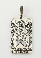 Lovers Tarot Card Pendant .925 Sterling Silver - small Lovers Tarot Amulet