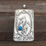 World Tarot Card Pendant .925 Sterling Silver w/ Genuine Turquoise gemstone