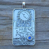 Moon Tarot Card Pendant .925 Sterling Silver w/ Genuine Rainbow Moonstone gem