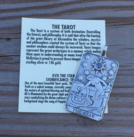 Star Tarot Card Pendant .925 Sterling Silver with natural Rainbow Moonstone gemstone