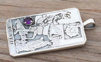Death Tarot Card Pendant .925 Sterling Silver with Genuine Purple Amethyst gem