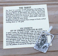 Strength Tarot Card Pendant .925 Sterling Silver - small Strength Tarot Amulet