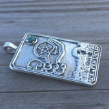 Ace of Pentacles Tarot Card Pendant .925 Sterling Silver w/ Natural Chrysocola gemstone