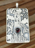 Tower Tarot Card Pendant .925 Sterling Silver w/ Genuine Garnet - Remove Obstacles