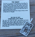 Two of Cups Tarot Card Pendant .925 Sterling Silver - Sacred Marriage Love Tarot Pendant