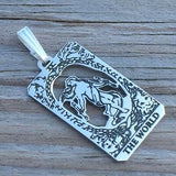 World Tarot Card Pendant solid .925 Sterling Silver - small World Tarot Card Amulet