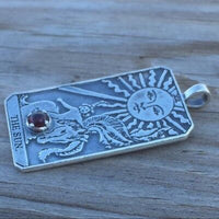Sun Tarot Card Pendant Sterling Silver w/ Genuine Garnet gem Prosperity Success