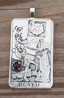 Death Tarot Card Pendant Sterling Silver with Genuine Amethyst