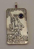 Magician Tarot Card Pendant .925 Sterling Silver w/ Natural Lapis Lazuli gemstone