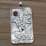 Sterling Silver Fool Tarot Card Pendant