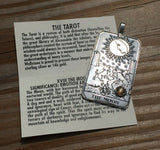 Moon Tarot Card Pendant .925 Sterling Silver with Genuine Peach Moonstone gem