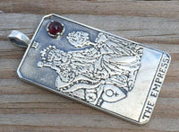 Empress Tarot Card Pendant .925 Sterling Silver w/ Natural Garnet gem Venus Love