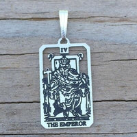 Emperor Tarot Card Pendant .925 Sterling Silver - small Emperor tarot card jewelry