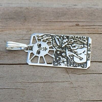 Sun Tarot Card Pendant solid .925 Sterling Silver - small Sun Tarot Jewelry