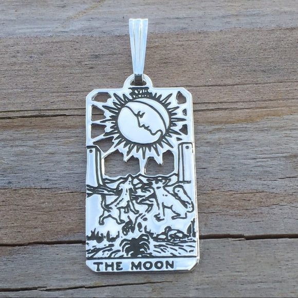 Moon Tarot Card Pendant solid .925 Sterling Silver - Small Moon Tarot Card Jewelry