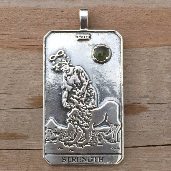 Strength Tarot Card Pendant. Solid Sterling Silver Pendant with genuine Peridot gemstone.