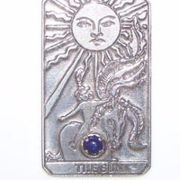 Sun Tarot Card Pendant Sterling Silver w/ Genuine Lapis Lazuli Prosperity Success