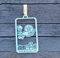 The Ace of Pentacles Tarot Card Pendant Solid Sterling Silver