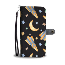 Rockets To The Moon Seamless Watercolor Smartphone Wallet Case - Smartphone Wallet Cases