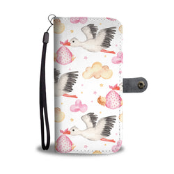 Stork Baby Girl Delivery Seamless Watercolor Smartphone Wallet Case - Smartphone Wallet Cases